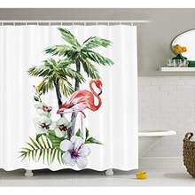 8f98f6de9c Vixm Flamingo Shower Curtain Watercolor Island Composition Exotic Forest  Leaves Hibiscus Spring in Hawaii Fabric Bath Curtains