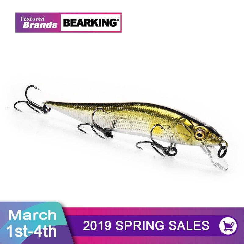 Venta al por menor + Señuelos de Pesca surtidos colores minnow manivela 98mm 10g de peso sistema Bearking 2018 wobbler modelo Cigüeñal