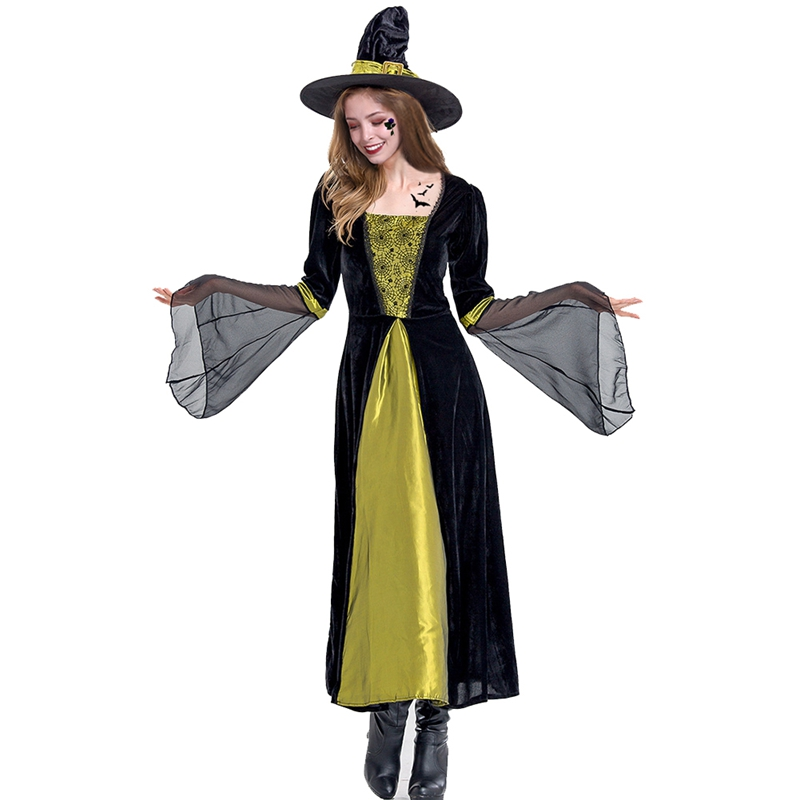 Halloween Witch Costume For Women Witch Costumes Cosplay Gothic Witch Outfit The Queen Witch Role Play Clothing Without Hat