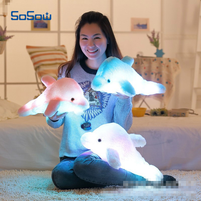 LED Luminous Glow Dolphin Pillow Juguetes 45cm Kawaii Colorful Flash Light Soft Plush Stuffed Animal Cushion Kids Toys For girls