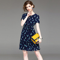 Silk Summer Dress 2017 New Fashion Peacock Animal Printed O Neck Short Sleeves Slim Belted A