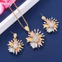 2 pcs Women Wedding jewelry sets Pendant Necklace Dangle Earrings Jewelry Sets For Nigerian Women Engagement pendientes