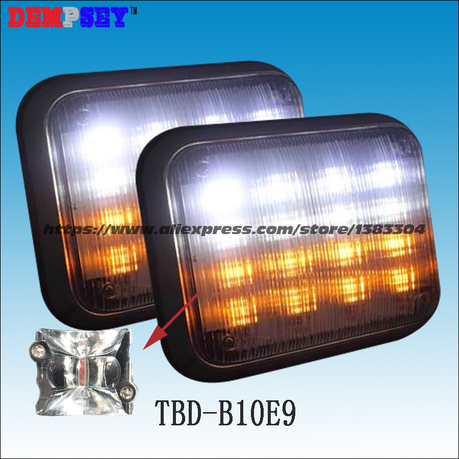 Dempsey 9 *7 Inch White and Amber Split Color Ambulance Surface Mount Warning Light/Signal Lamp LED Warning Light(TBD-B10E9) a975got tbd b