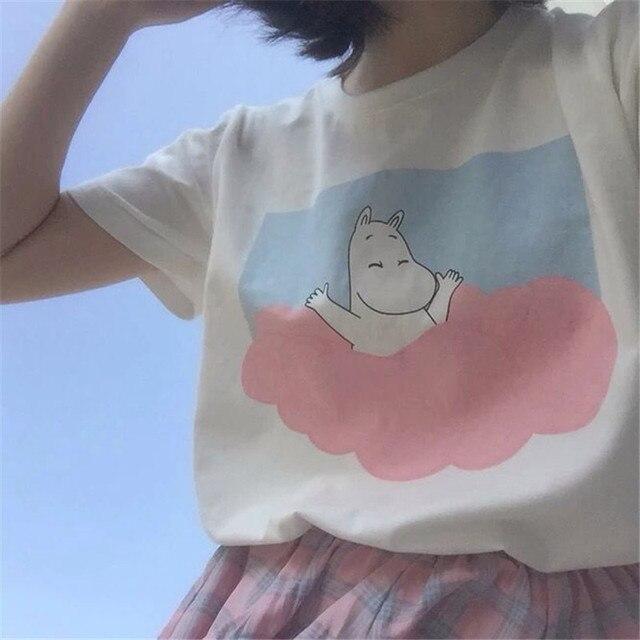 2017 Летний новый корейский harajuku Футболка супер милый мультфильм розовый бегемот хеджирования шею женщины Топ