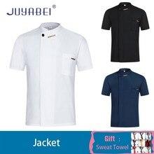 Unisex Chef Waiter Short Sleeve Uniform Solid Color Summer Restaurant Hotel Cafe Hairdressers Salon Work Jacket Free Scarf Gift