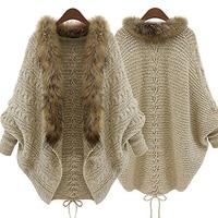 Women Faux Fur Collar Batwing Sleeve Loose Casual Warm Cardigan Shawl Sweater
