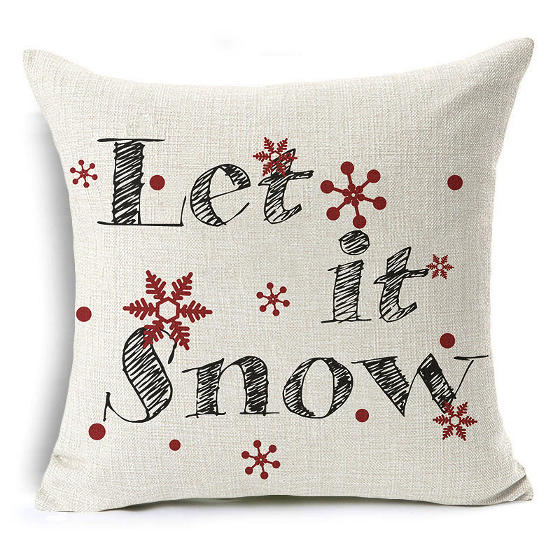 Merry Christmas Cushion Cover Let it snow Letter Printing Throw Pillow Pillowcase Cotton ...