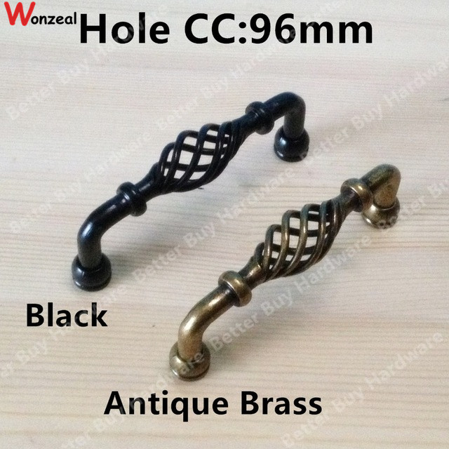 "hole pitch 96mm 3.78"" antique bronze kitchen cabinet handle / iron"