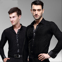 Hot Sale New 2017 Plus Size Black Waltz Latin Dance Top Men Latin Dance Shirts Men Ballroom Dance Shirt