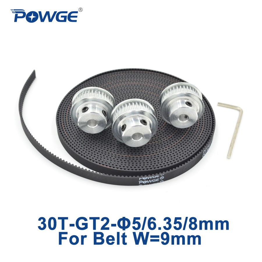 все цены на POWGE 3pcs 30 teeth GT2 Timing Pulley Bore 5mm 6.35mm 8mm + 5Meters width 9mm GT2 open Synchronous Belt 2GT pulley 30T 30Teeth