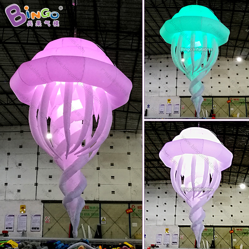 GREAT CRAFT 2m inflatable hanging spiral jellyfish LED lighting lamp decoration customized ocean theme balloon free shippingGREAT CRAFT 2m inflatable hanging spiral jellyfish LED lighting lamp decoration customized ocean theme balloon free shipping