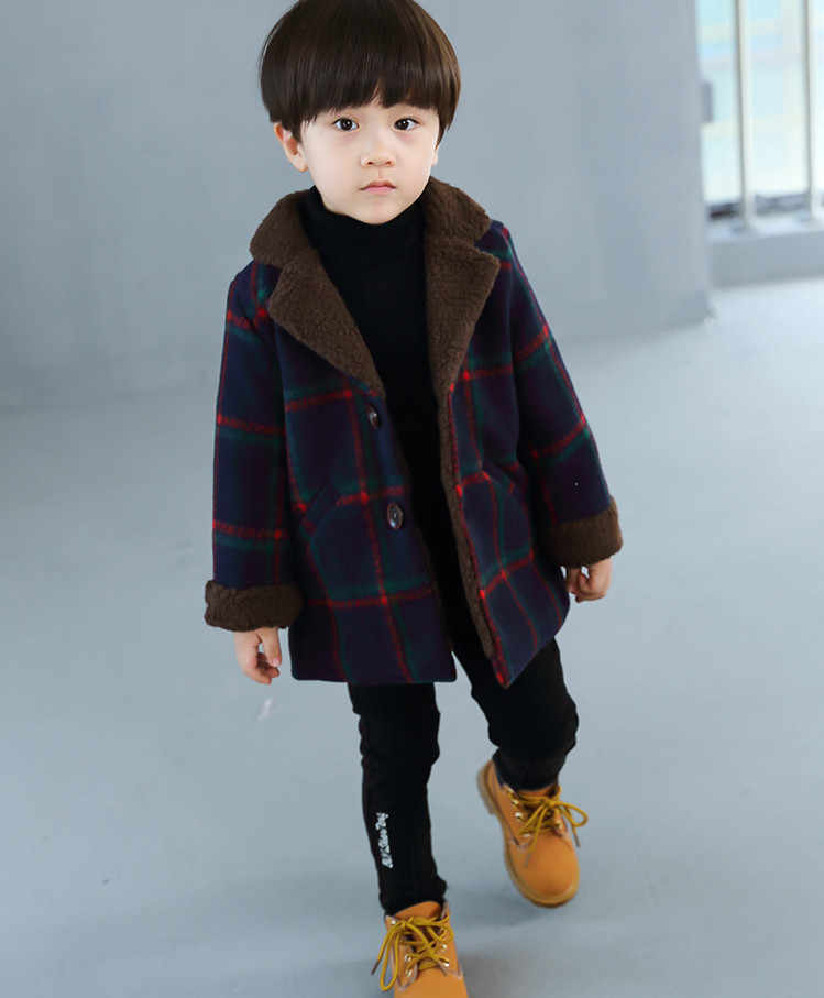 b9a6e7512 ... New Children's Wear For Autumn and Winter Baby Boys Plaid Fashion  Woolen Coat Kids Jacket Boy ...