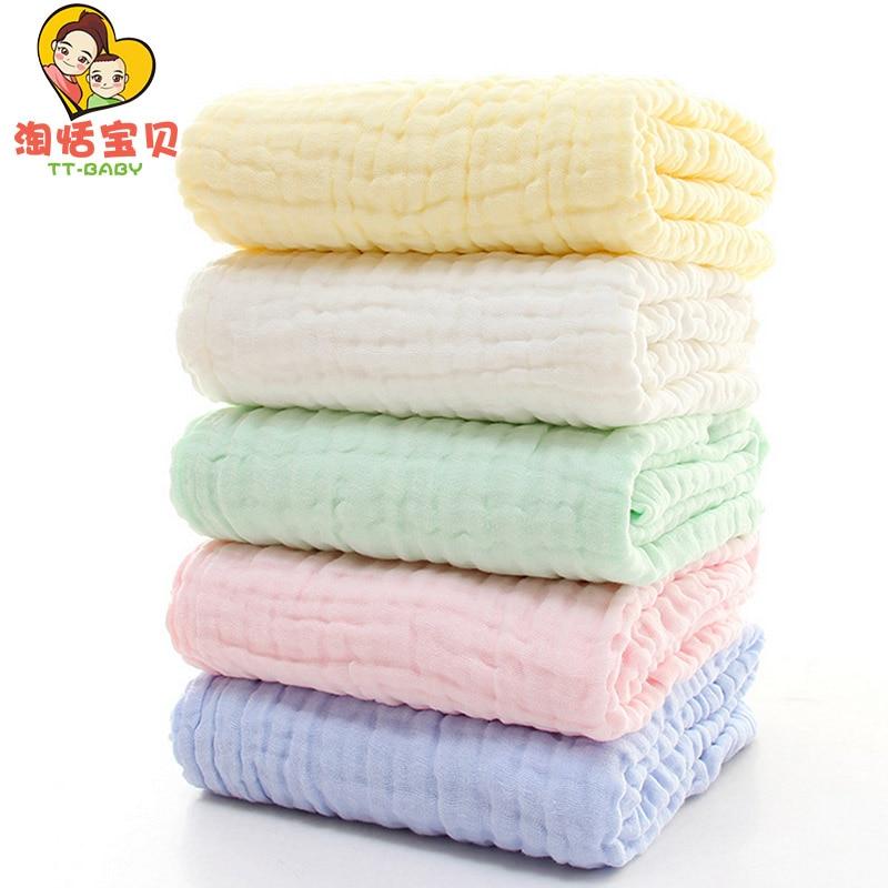 Baby Bath Towel Pure Color Baby Washing Gauze Autumn Newborn Quilt Baby Shower Towel Boys Girls Soft Care Bath 6 Layer 85X85cm