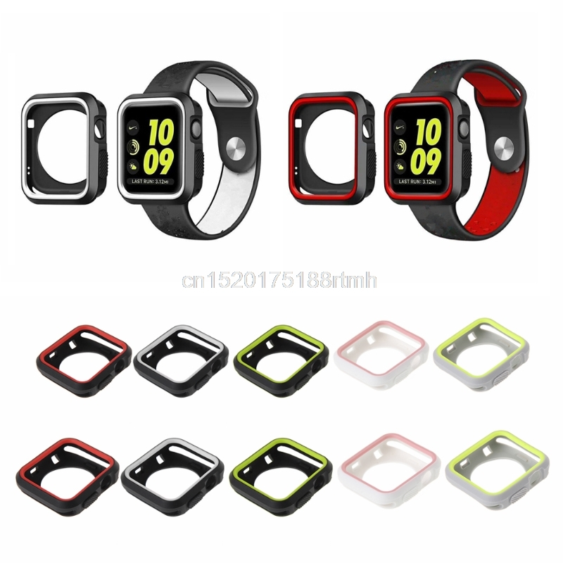 D14 drop shippingSilicone Watch Case For 42mm/38mm Apple Watch Series 1/2/3 Cover Hard Protective gumdrop drop series case black