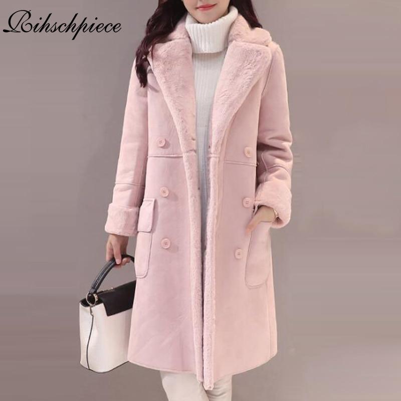 Rihschpiece 2018 Winter Velvet Suede Jacket Women Thick   Parka   Coat Long Jackets Vintage Casual Pocket Clothes RZF1322