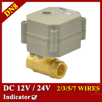 Tsai Fan 2 Way Brass 1/4 Electric Ball Valve With Indicator DC12V DC24V DN8 Automatic Valve 2/3/5/7 Wires