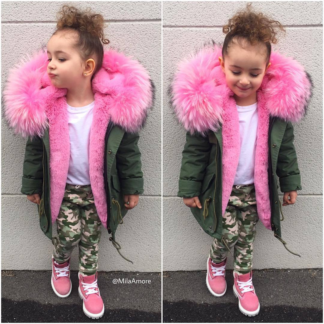 2018 Fashion Children's Cotton Parkas Winter Outerwear Coats Thickened Warm Jackets Baby Boy And Girl Faux Fur Coat 2018 fashion children s cotton parkas winter outerwear coats thickened warm jackets baby boy and girl faux fur coat
