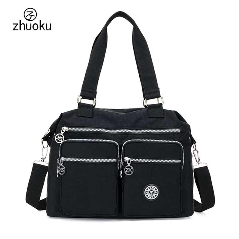 ZHUOKU 2017 Women Waterproof Nylon Bags For Woman Handbags Strap Large Capacity Travel Stroller Bag brand Bolsa feminina ZK752