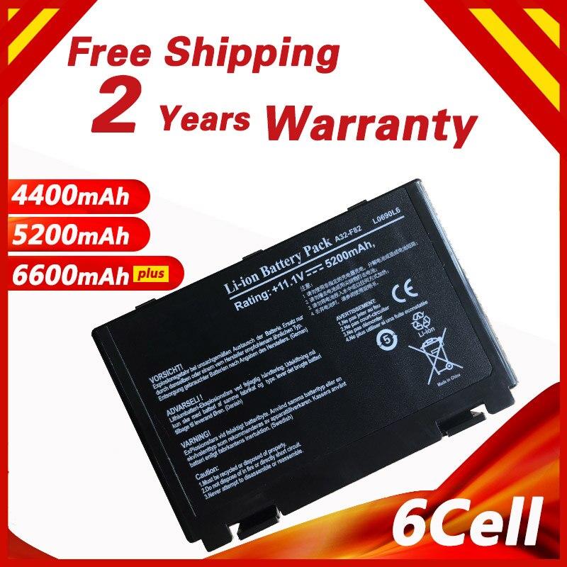 Batterie d'ordinateur portable pour Asus A32-F82 A41 F52 F82 K61 K70 X8A A32-F52 L0690L6 L0A2016 K40 K40E K40N K40lN K50 K51 k60 P81 X5A X5E X70