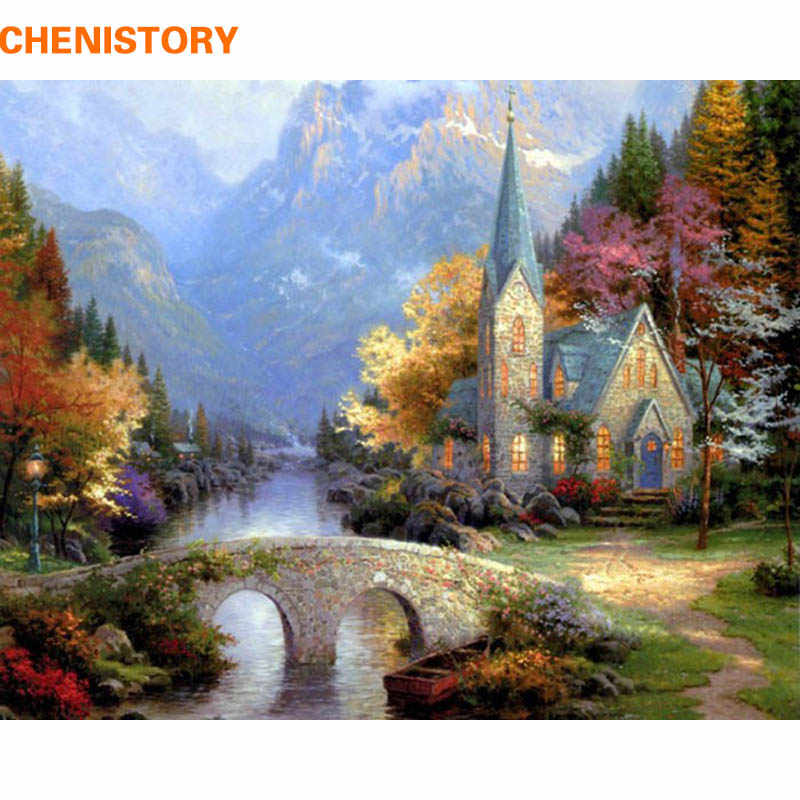 CHENISTORY No Frame Rural Landscape DIY Painting By Numbers Acrylic Paint On Canvas Coloring Painting Kits For Home Wall Artwork