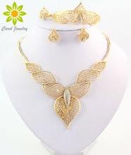 Nueva moda Dubai Oro Africano Plateó La Joyería de Traje de Las Mujeres de Nigeria Boda Crystal Beads Necklace Set