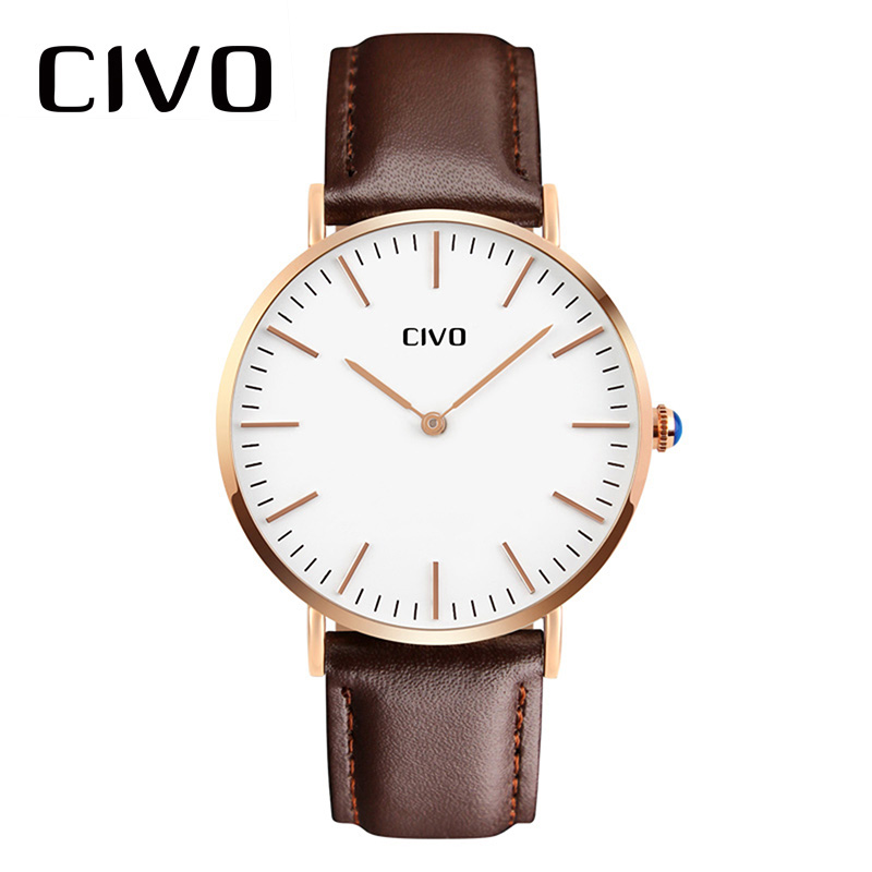 CIVO Wrist Watch For Men 2018 New Ultra Thin Genuine Leather Watches Mens Waterproof Analogue Quartz Watch For Man Fashion Clock fashion casual watch men civo waterproof date calendar analogue quartz men wrist watch brown genuine leather watch for men clock