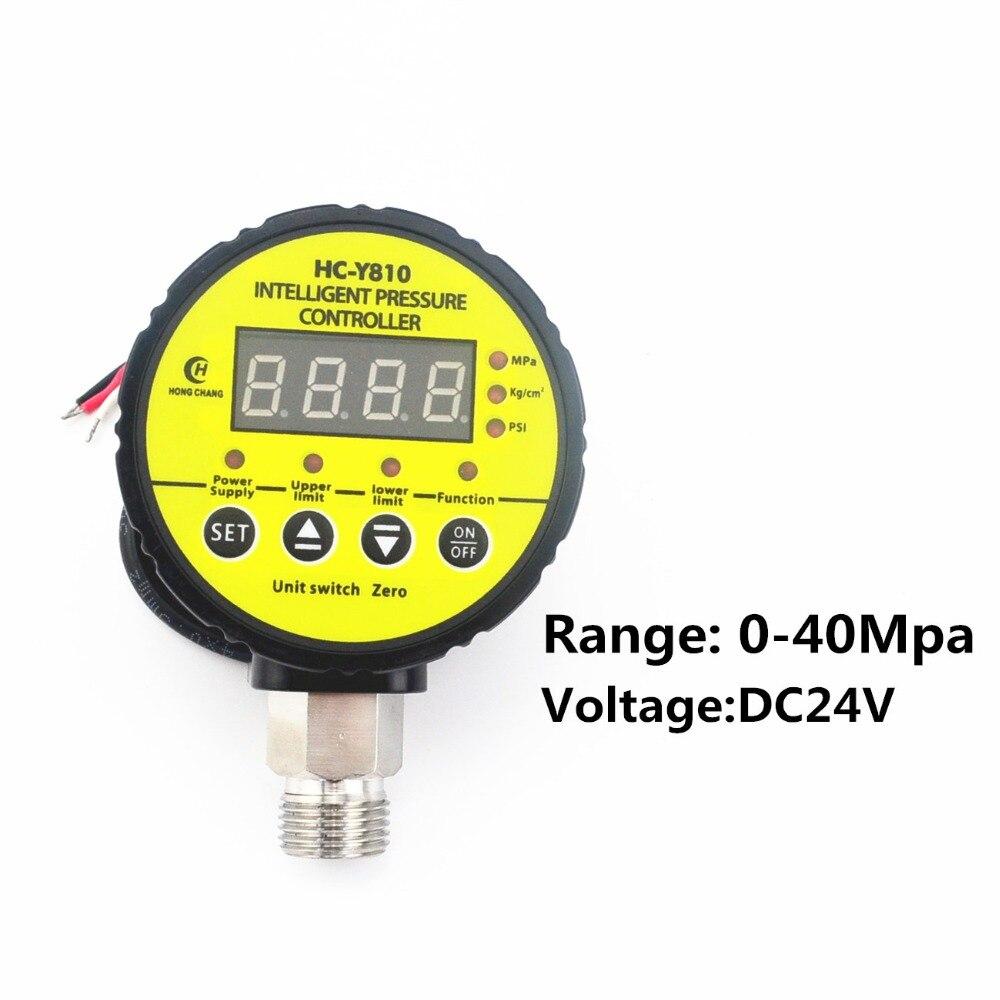 DC24V 0-40Mpa compresseur d'air pressostat numérique manomètre relais sortie