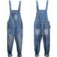 Men Spring Autumn Jeans Overall Casual Royal Blue Light Blue Plus Size Mens Bib Pants Skinny