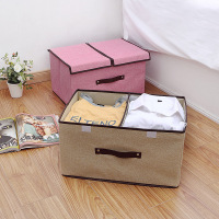 High Quality Cotton Linen Storage Box Double Cover Gift Large capacity Simple Finishing Box Debris Organizers Storage Box Tools