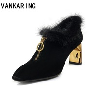 VANKARING high heels genuine leather shoes women high heel pumps cut out ladies party shoes autumn square toe fur ankle shoes