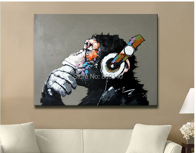 gorilla on headphone framed abstract oil painting canva cute animal artwork quality handmade home office hotel artwork for the office