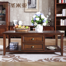 American country living room coffee table wood full retro minimalist TV cabinet combination teasideend