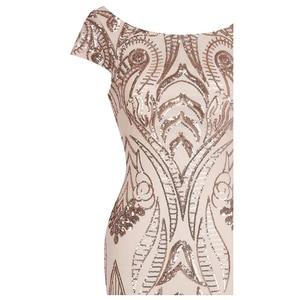 Image 4 - Angel fashions Cap Sleeve Bateau V Back Vintage Sequin Mermaid Long Evening Dress Light Coral 378