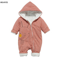 Milancel 2017 Baby Rompers Newborn Winter Baby Boys Rompers Warm Infant Girls Clothing Thicken Hooded Girls Overalls