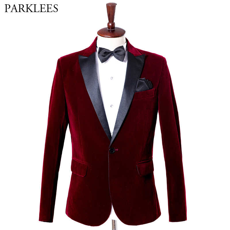 Wine Red Velvet Blazer Men 2019 Fashion Leisure Suit Jacket Men Wedding Groom Singer Costume Homme Slim Fit Blazer Masculino 4XL