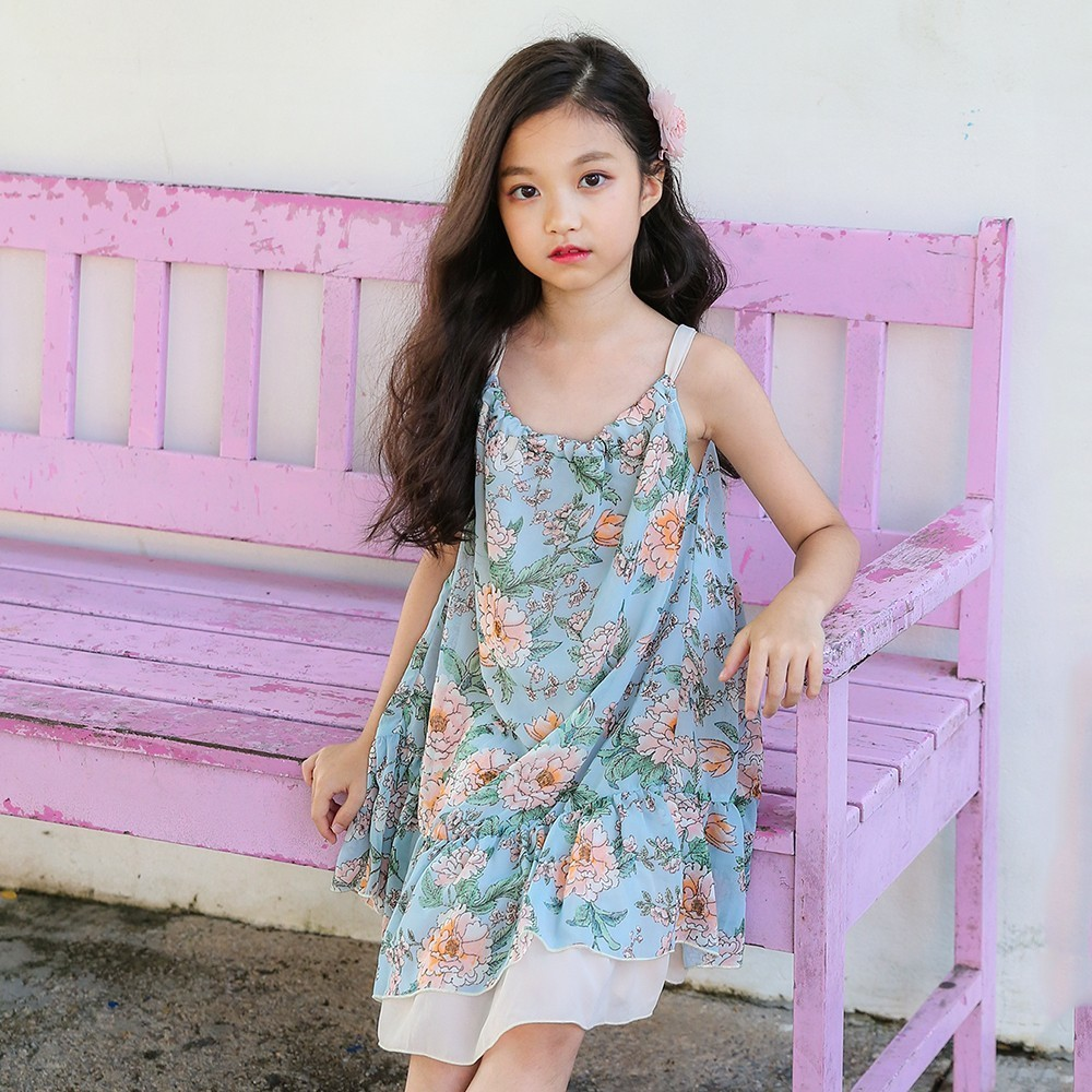 floral pattern printed dress girls summer 2018 beach baby girl dresses clothes casual sleeveless dress for girl teen clothing 2pcs set newborn floral baby girl clothes 2017 summer sleeveless cotton ruffles romper baby bodysuit headband outfits sunsuit