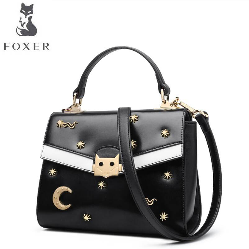 FOXER 2017 new brand women leather bag fashion rivet tote women leather handbags shoulder bag quality cowhide bag new brand genuine leather women bag fashion retro stitching serpentine quality women shoulder messenger cowhide tassel small bag