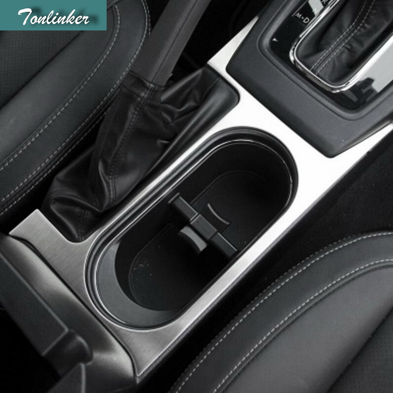 Tonlinker 1 Pcs font b Car b font Styling stainless steel Hand brake water glass Cover