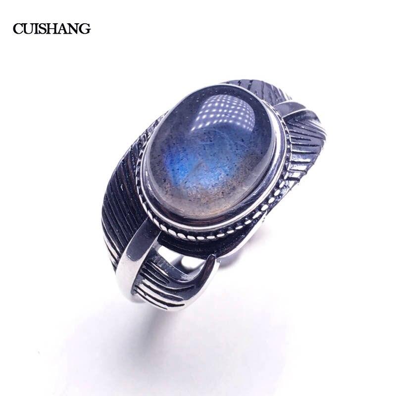 CSJ 100% naturel Labradorite anneaux en argent sterling femmes femme dame mariage fiançailles fête cadeau bijoux fins