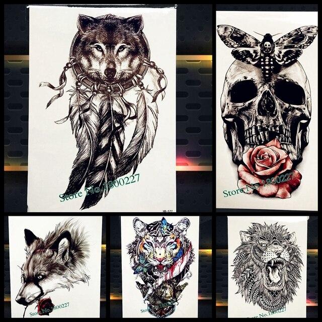 Hot Wolf Diseño Tatuaje Temporal Atrapasueños Indio Negro Pluma