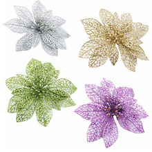 1X Christmas Flowers Xmas Tree Decorations Hollow Wedding Party Decor Ornaments Artificial Christmas Flowers