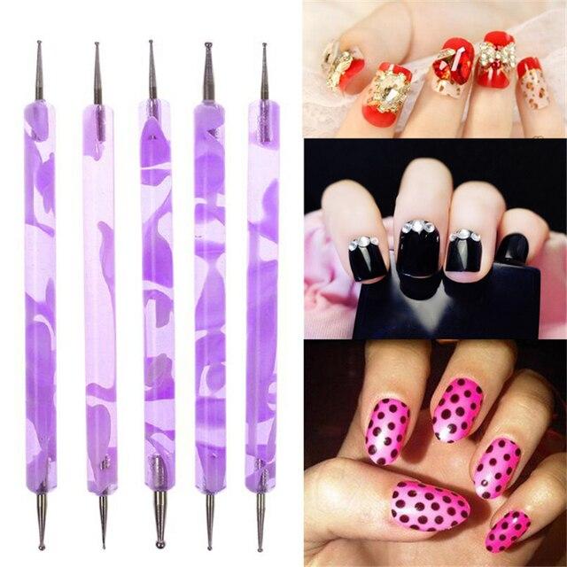 1set2pcs Duble End 2 Way Dotting Pen Nail Art Design Set Dotting