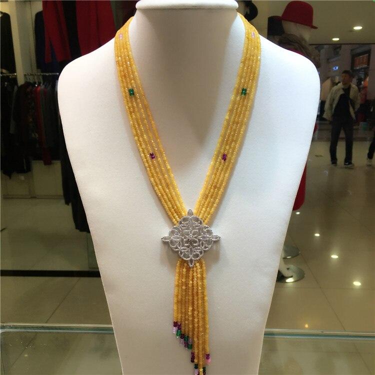 Nowy styl wielowarstwowe żółty kamień naszyjnik micro wkładka cyrkon akcesoria zapięcie biżuteria w Naszyjniki łańcuszkowe od Biżuteria i akcesoria na  Grupa 1