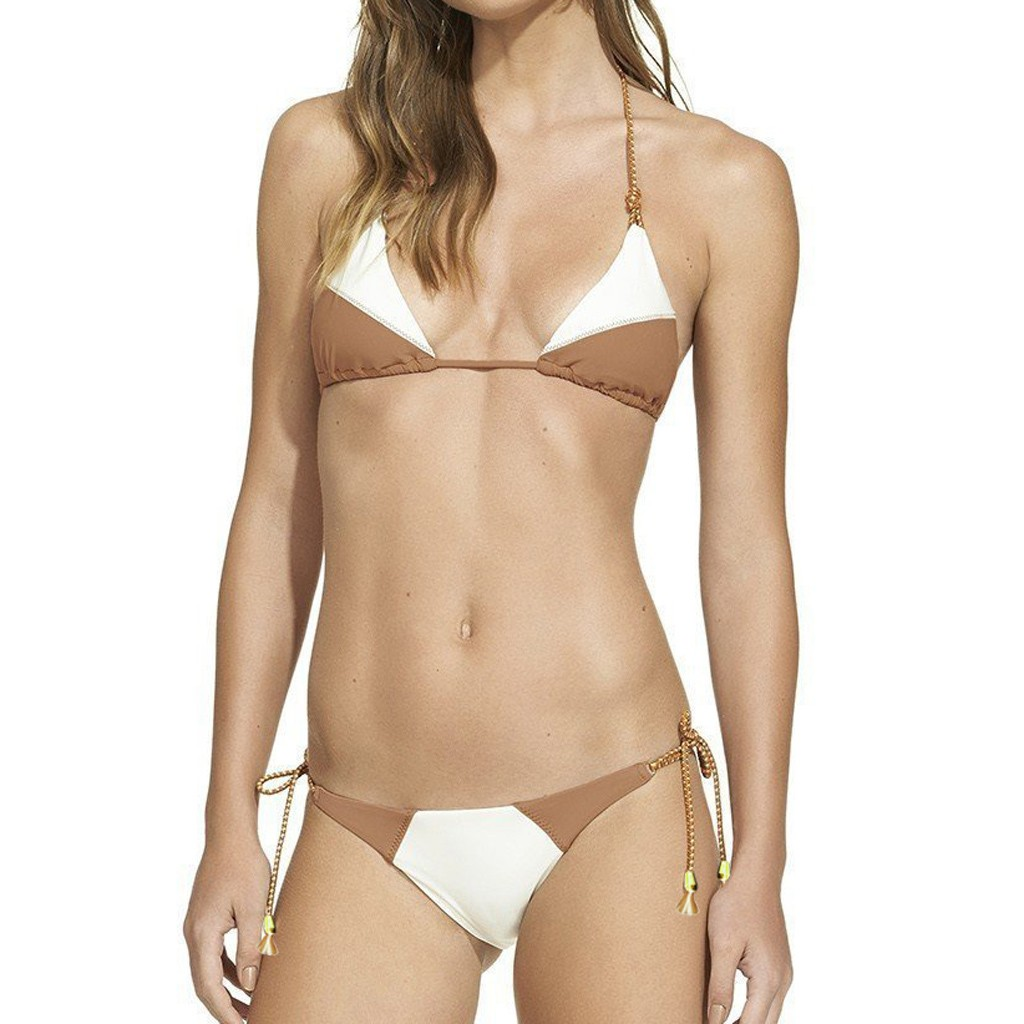 Sexy Comfortable Bandage Color Matching Rope Women's Color Matching Sexy Split Beachwear