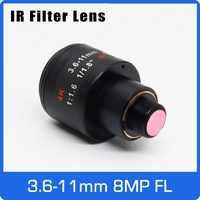 8 Megapixel M12 Mount Varifocale 4 K Lens Per IMX179/317/377/477 di Azione/Sport Telecamere 1/1. 8 pollici 3.6-11 millimetri Messa A Fuoco Manuale e Zoom