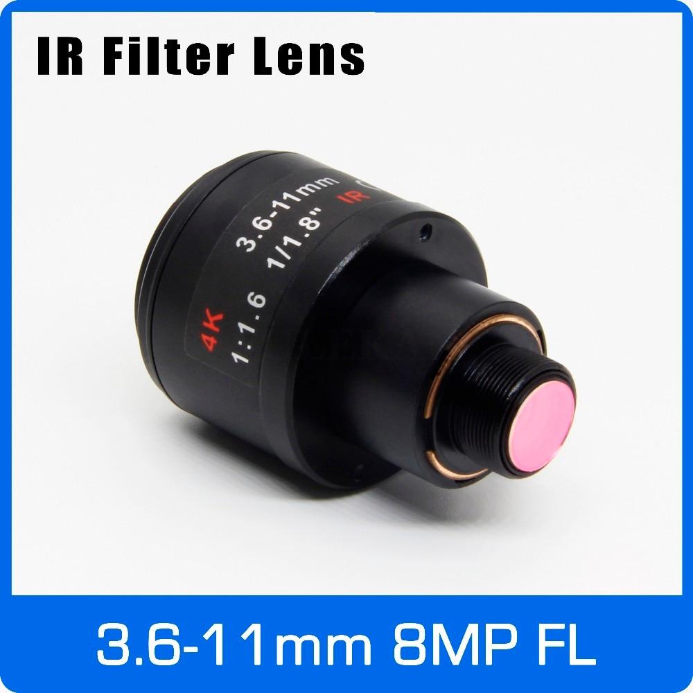 8Megapixel M12 Mount Varifocal 4K Lens For IMX179/317/377/477 Action/Sports Cameras 1/1.8 Inch 3.6-11mm Manual Focus And Zoom