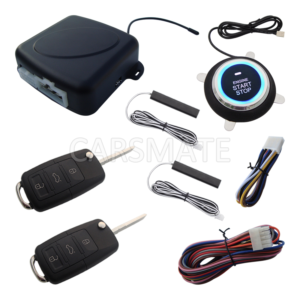 New PKE Car Alarm System With HAA Flip Key Remote Control Remote Start Stop Engine Passive Keyless Entry Many Rolling Code easyguard pke car alarm system remote engine start stop shock sensor push button start stop window rise up automatically