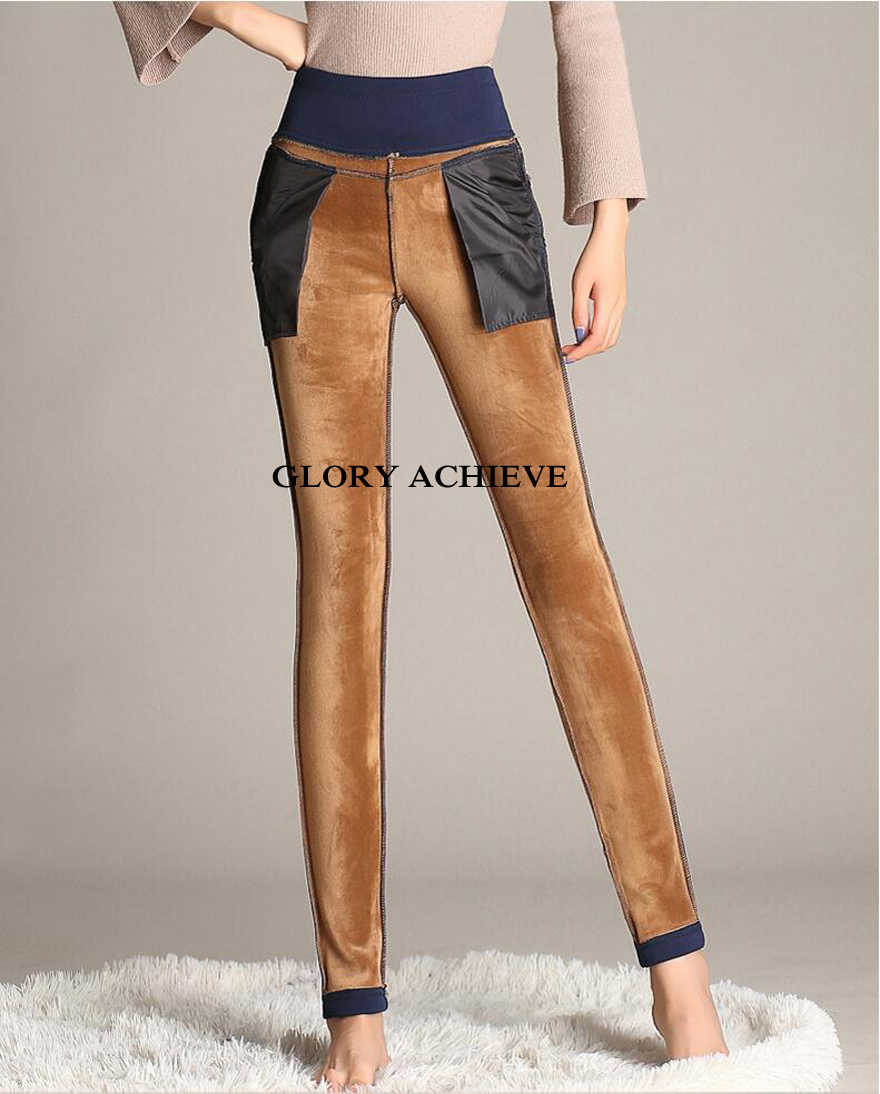 ... Плюс бархатные женские брюки плюс размер 6XL эластичные рабочие OL брюки  2018 Осень Зима теплые узкие ... dc9089140ecff