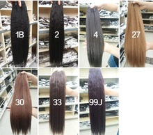 Kinky Straight Hair Weaving Pure Color Synthetic Wave Hair Extension