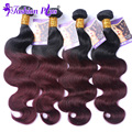 Fashion Plus Ombre Hair Peruvian Virgin Hair Body Wave 1B/99J 4PCS Ombre Peruvian Virgin Hair Extensions Human Hair Bundles
